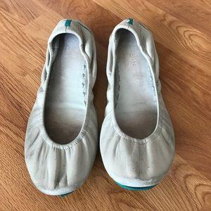 Tieks Preloved Cream Leather Flats